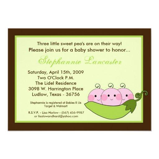 5x7 TRIPLET SweetPea in Pod Baby Shower Invitation