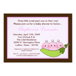 "5x7 TRIPLET SweetPea in Pod Baby Shower Invitation 5"" X 7"" Invitation Card"