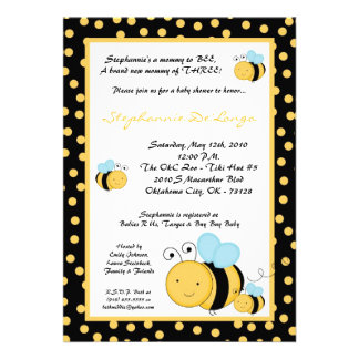 5x7 TRIPLETHoney Bumble Bee Baby Shower Invitation