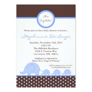 5x7 TRIPLETS Mod Elephant Baby Shower Invitation