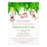 5x7 TRIPLETS Monkey Jungle Baby Shower Invitation Card