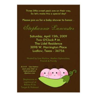 5x7 TRIPLETS Sweet Pea Pod Baby Shower Invitation