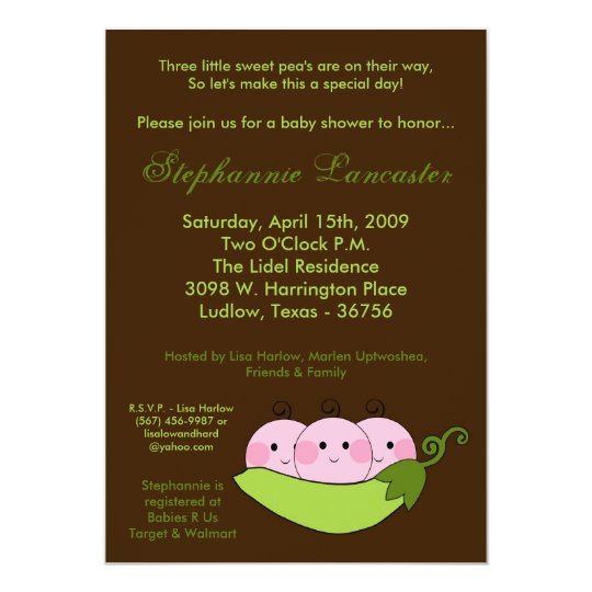 5x7 TRIPLETS Sweet Pea Pod Baby Shower Invitation