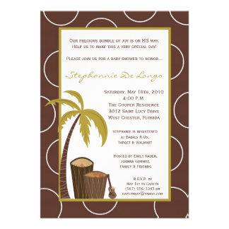 5x7 Tropical Hawaiian Drum Baby Shower Invitation Personalized Invite