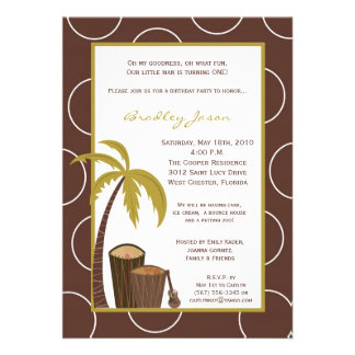 5x7 Tropical Hawaiian Drum Birthday Invitation