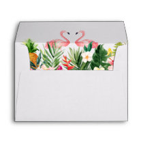 5x7 - Tropical Leaves Floral Flamingo Wedding Envelope