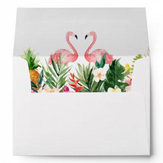 5x7 - Tropical Leaves Floral Flamingo Wedding Envelope