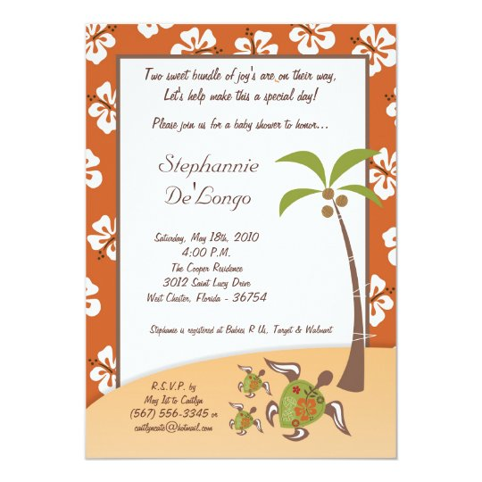 5x7 Tropical Turtle Mama TWINS Shower Invitation