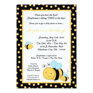 5x7 TWIN Honey Bumble Bee Baby Shower Invitation