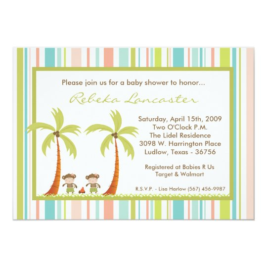 5x7 Twin Luau Hawaii Monkey Baby Shower Invitation