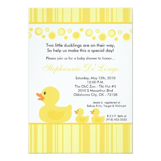 5x7 TWIN Yellow Rubber Duck Baby Shower Invitation