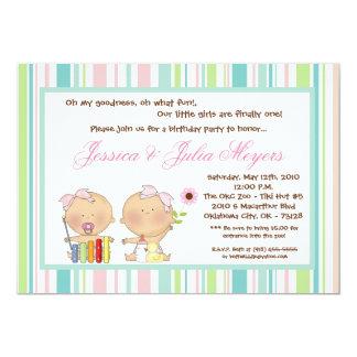 "5x7 TWINS Girl Girly Birthday Party Invitation 5"" X 7"" Invitation Card"