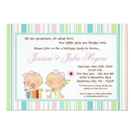 5x7 TWINS Girl Girly Birthday Party Invitation