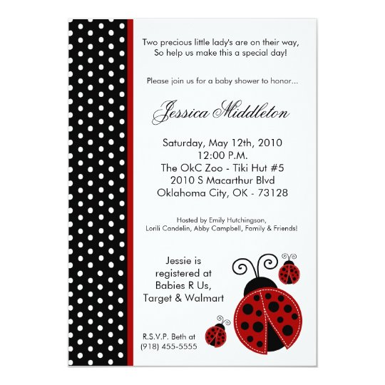5x7 TWINS Lady Bug PolkaDot Baby Shower Invitation