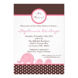 5x7 TWINS Mod Pink Elephant Baby Shower Invitation