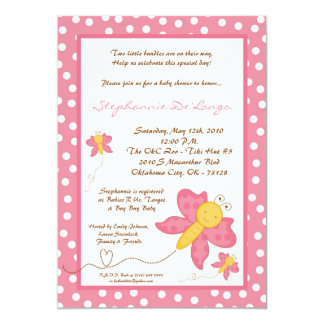 5x7 TWINS Pink Butterfly Baby Shower Invitation