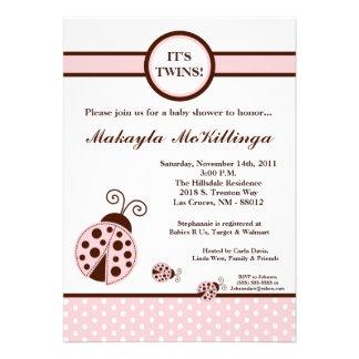 5x7 TWINS Pink Lady Bug Baby Shower Invitation