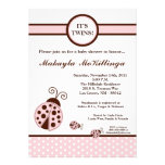 5x7 TWINS Pink Lady Bug Baby Shower Invitation