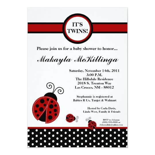 5x7 TWINS Red Lady Bug Baby Shower Invitation
