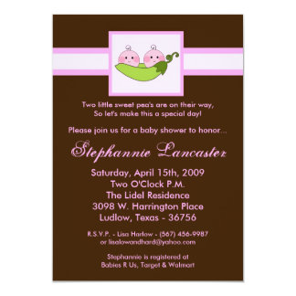 "5x7 TWINS Sweet Pea in Pod Baby Shower Invitation 5"" X 7"" Invitation Card"