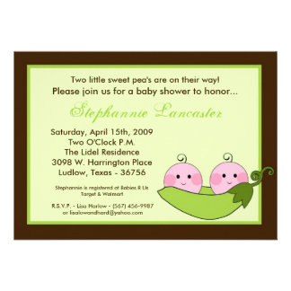 5x7 TWINS Sweet Pea in Pod Baby Shower Invitation