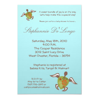5x7 Under the Sea Turtle Baby Shower Invitation Personalized Invites
