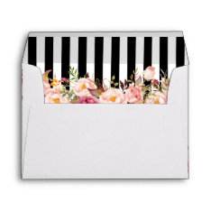 5x7 Vintage Floral Black White Stripes Wedding Envelope at Zazzle