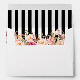 5x7 Vintage Floral Black White Stripes Wedding Envelope