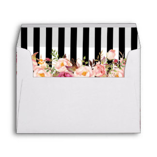 5x7 Vintage Floral Black White Stripes Wedding Envelope