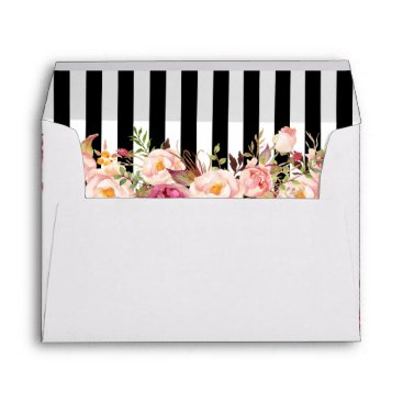CardHunter 5x7 Vintage Floral Black White Stripes Wedding Envelope