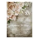 5x7 Vintage Roses Quinceanera Birthday Invitation