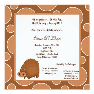 5x7 Warthog Pok-a-Dot Birthday Party Invite