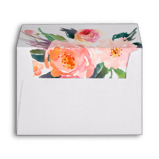 5x7 Watercolor Peony Floral Botanical Liner Decor Envelope