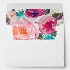 5x7 Watercolor Purple Pink Floral Liner Decor Envelope at Zazzle