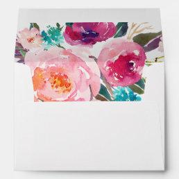 5x7 Watercolor Purple Pink Floral Liner Decor Envelope