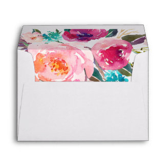 5x7 Watercolor Purple Pink Floral Liner Decor Envelope