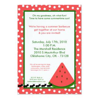 5x7 Watermelon Summer Picnic Barbecue Invitation