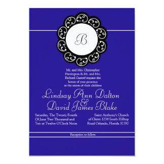 5x7 Wedding Invitation Blue & White