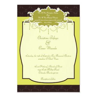 5x7 Wedding Invitation Light/Olive Green Chandelie