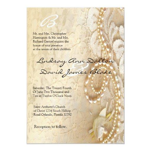 5x7 wedding invitation pearl lace zazzle for Pearl wedding invitations