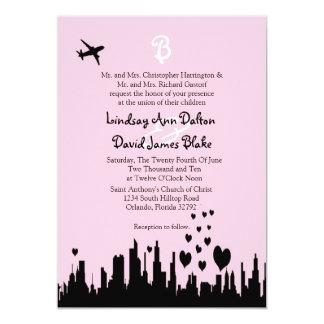 5x7 Wedding Invitation Pink City Line