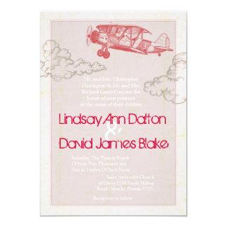 5x7 Wedding Invitation Vintage Airplane in Clouds