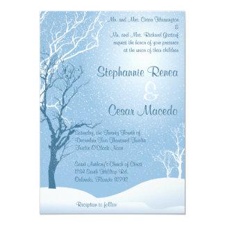 5x7 Wedding Invitation Winter Blue Snow Tree