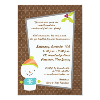 5x7 Winter Snowman winter Snow Invitation