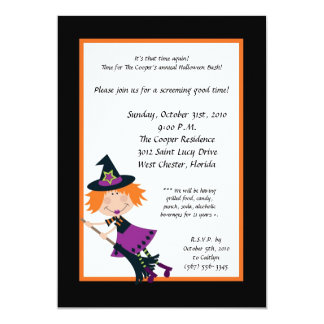 5x7 Witch on Broom Halloween Bash Party Invitation