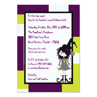 5x7 Witchy Ways Purple Halloween Party Invitation