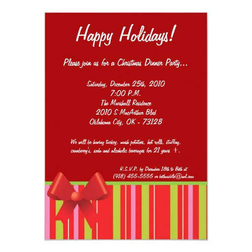 "5x7 Wrapping Paper Bow Christmas Party Invitation 5"" X 7"" Invitation Card"