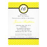 5x7 Yello White Polka Dot 16th Birthday Invitation