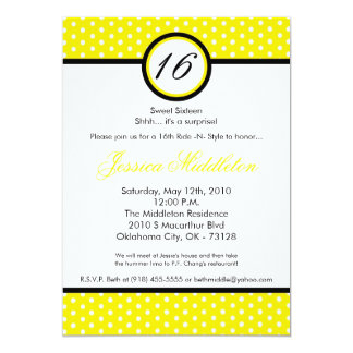 5x7 Yello White Polka Dot 16th Birthday Invitation
