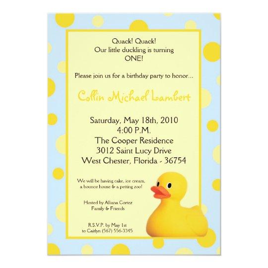 5x7 Yellow Blu Rubber Ducky Birthday Invitation